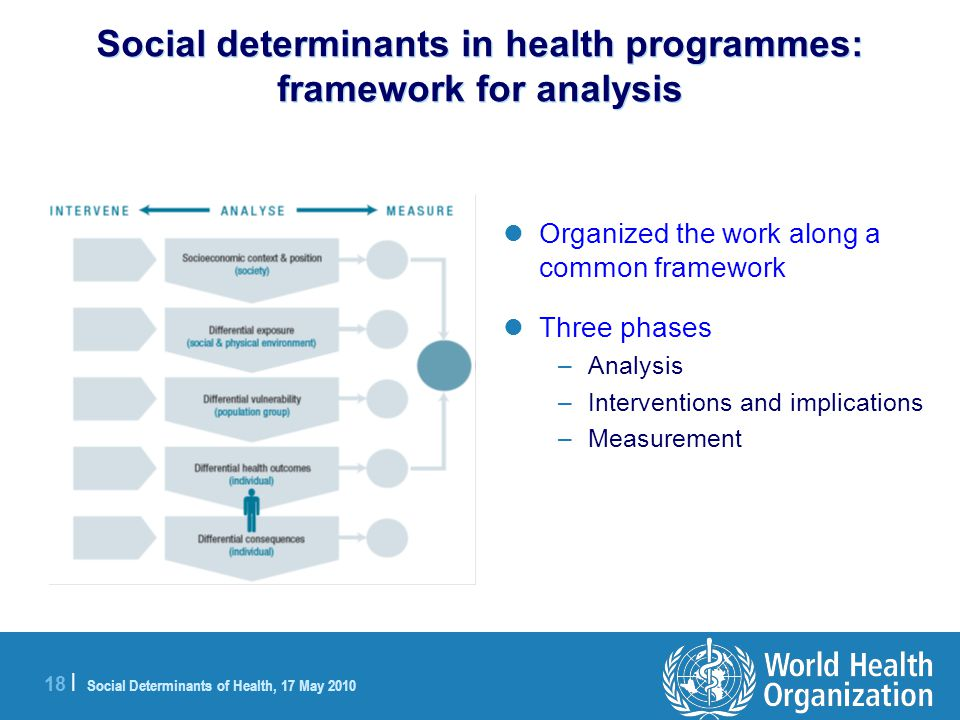 18 | Social Determinants of Health, 17 May 2010 Social determinants in health programmes: framework for analysis Organized the work along a common framework Three phases –Analysis –Interventions and implications –Measurement