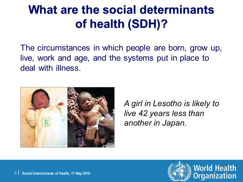 4 |4 | Social Determinants of Health, 17 May 2010 What are the social determinants of health (SDH).