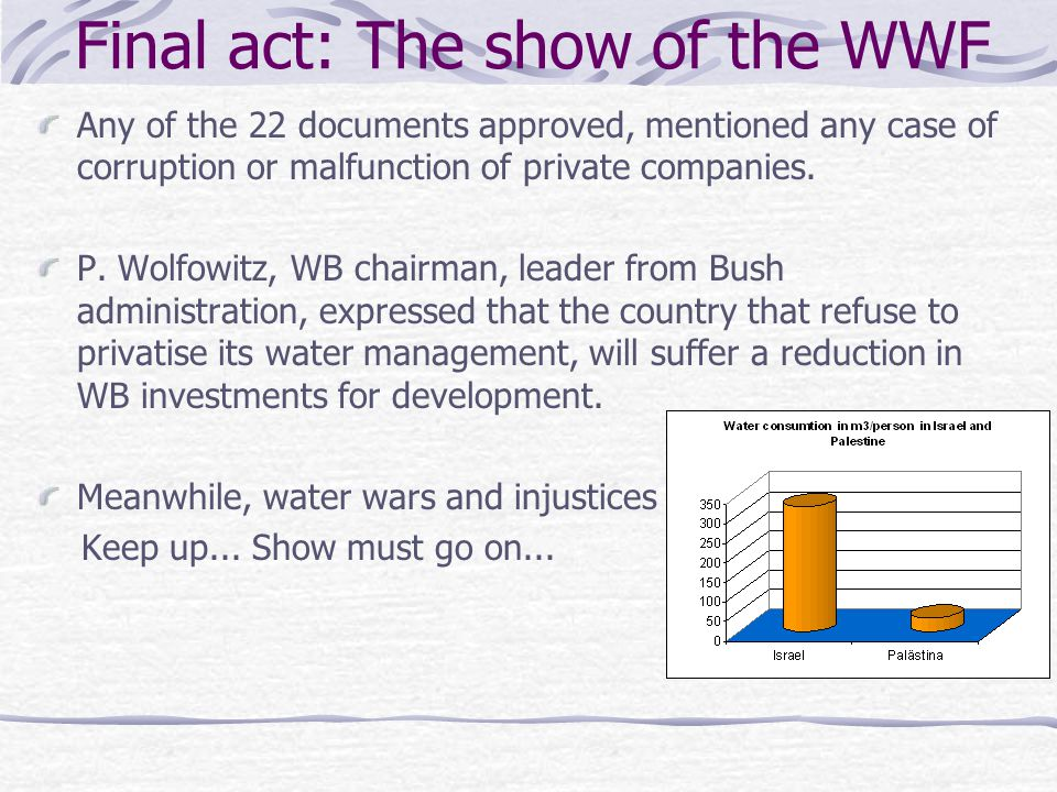 Final act: The show of the WWF Any of the 22 documents approved, mentioned any case of corruption or malfunction of private companies. P. Wolfowitz, W