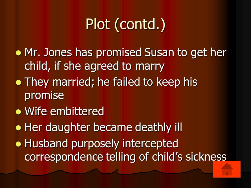 Plot (contd.) Mr.Jones has promised Susan to get her child, if she agreed to marry Mr.