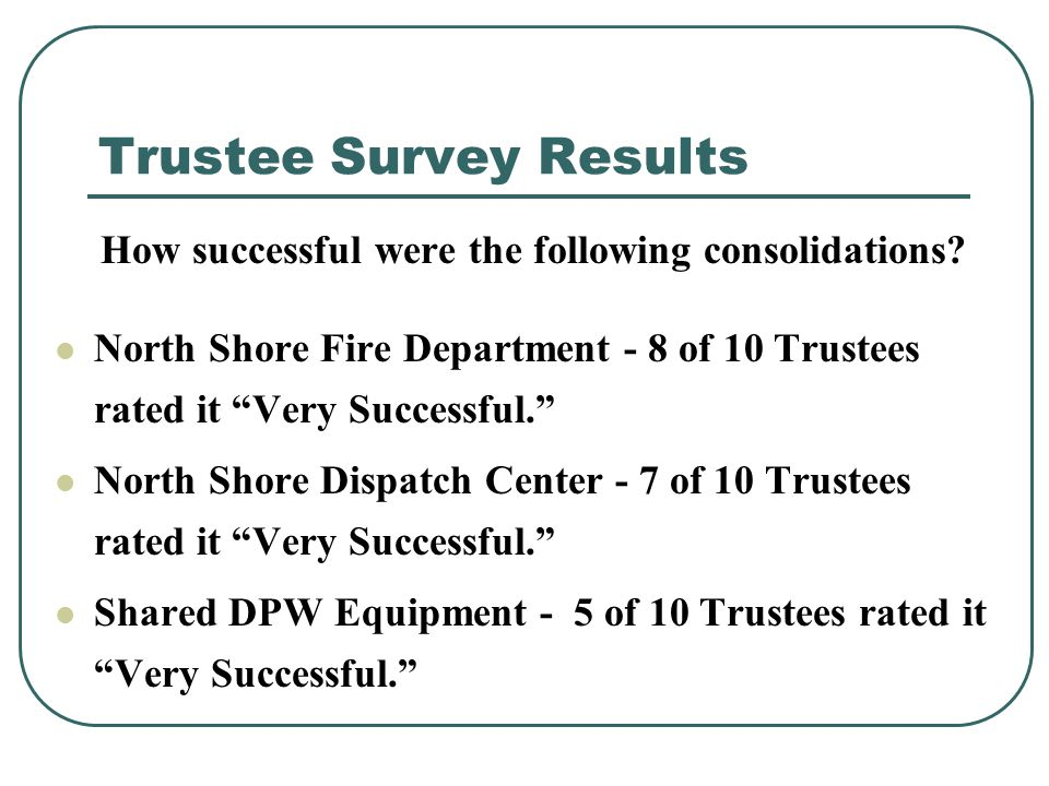 Trustee Survey Results How successful were the following consolidations.