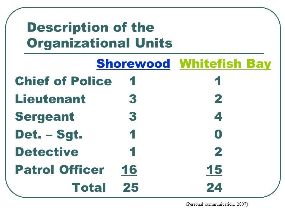 Description of the Organizational Units Shorewood Whitefish Bay Chief of Police11 Lieutenant32 Sergeant34 Det.