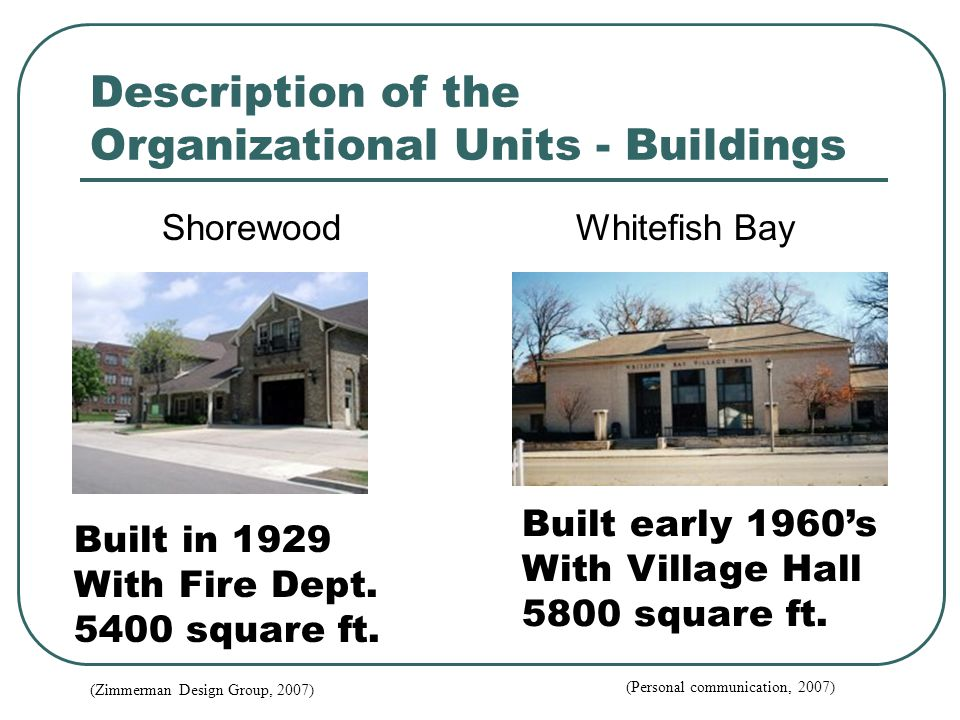 Description of the Organizational Units - Buildings Shorewood Whitefish Bay Built in 1929 With Fire Dept.