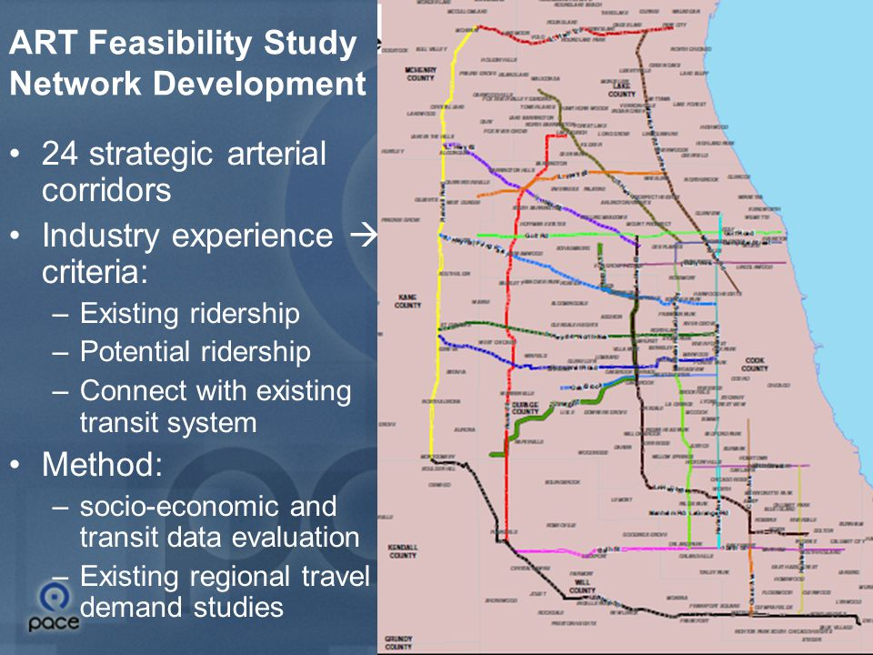 8 ART Feasibility Study Network Development Result: Map shows 13 corridors of Group 1 NoLowNo3 MediumLimited2 YesHighYes1 Connect Potential ridership Existing ridership Group