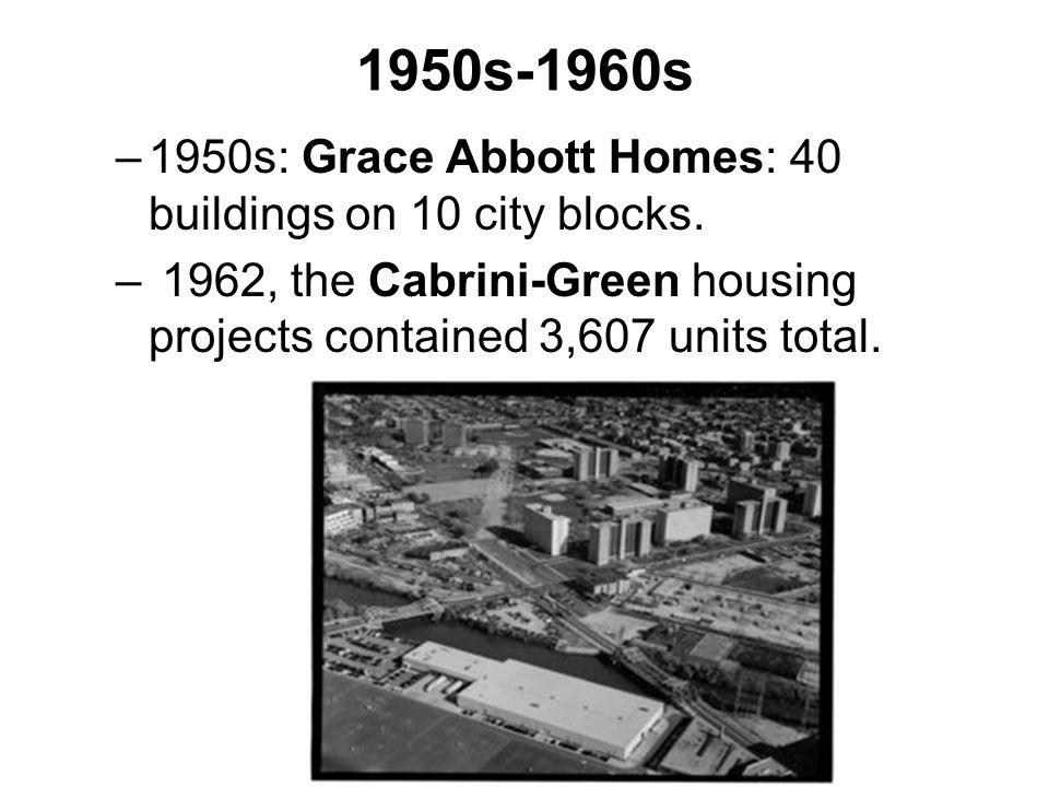 –Stateway Gardens (1958)-eight housing buildings long.