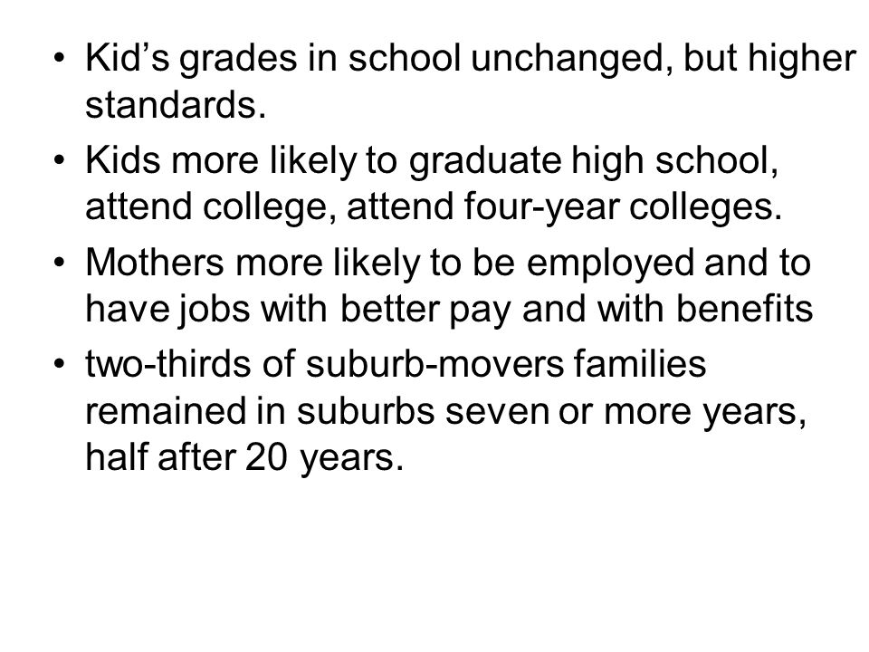 Kid's grades in school unchanged, but higher standards. Kids more likely to graduate high school, attend college, attend four-year colleges. Mothers m