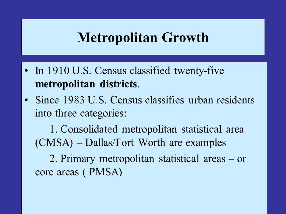 Metropolitan Growth In 1910 U.S. Census classified twenty-five metropolitan districts.