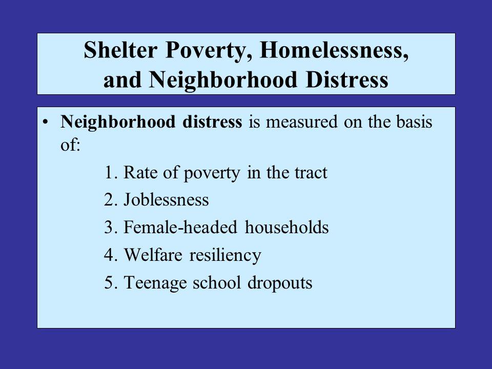 Shelter Poverty, Homelessness, and Neighborhood Distress Neighborhood distress is measured on the basis of: 1.