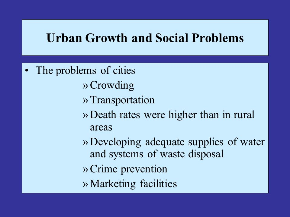 Financial Problems Loss of tax dollars to the suburbs Deteriorating infrastructure Declining federal revenue for cities and growing urban problems Increasing concentration of poor in the city resulted in increasing costs for services; at the same time, the property tax base of cities were declining