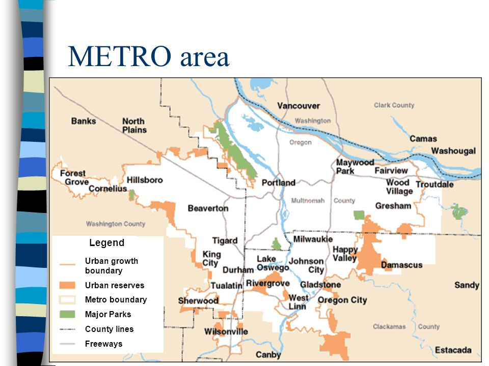METRO and TRI-MET METRO –The regional government which has municipal home rule for city planning. –1.3 million people –covers 24 cities, urban areas o