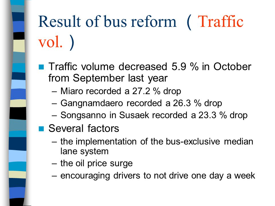 Result of bus reform ( Bus speed ) The average speed of the buses running in the median bus lanes escalated by –85 %, increasing to 20.3km./hr on Dobong/Miaro (Road) in northern Seoul –72 % increasing to 22.5km./hr on Suseak/Seongsanno (Road) in northwestern Seoul –32 % increasing to 17.2 km./hr on Gangnamdaero (Road) in southern Seoul The figure recorded in June when the new system was not yet introduced