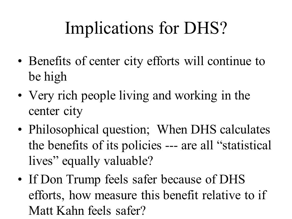 Implications for DHS.
