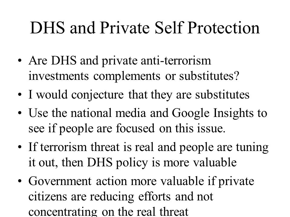 DHS and Private Self Protection Are DHS and private anti-terrorism investments complements or substitutes.