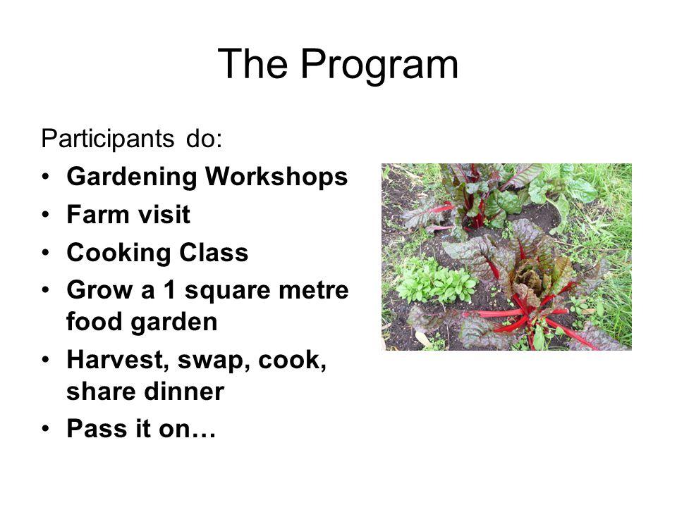 The Program Participants do: Gardening Workshops Farm visit Cooking Class Grow a 1 square metre food garden Harvest, swap, cook, share dinner Pass it