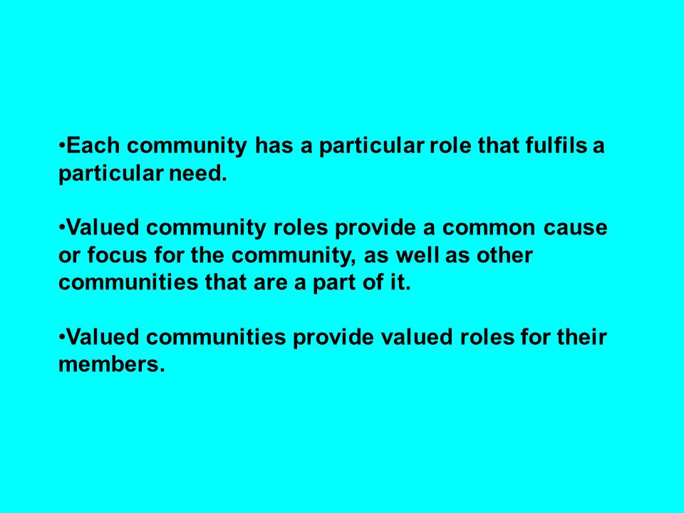Each community has a particular role that fulfils a particular need. Valued community roles provide a common cause or focus for the community, as well