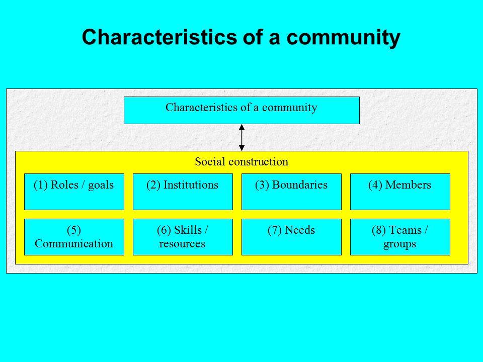 Characteristics of a community