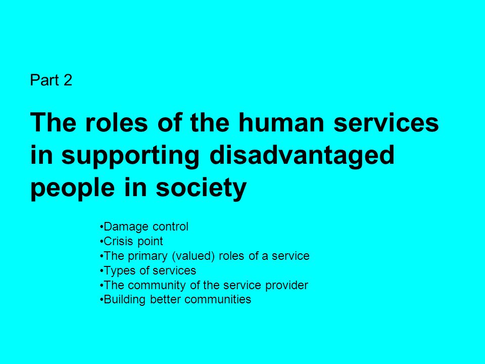 Part 2 The roles of the human services in supporting disadvantaged people in society Damage control Crisis point The primary (valued) roles of a servi