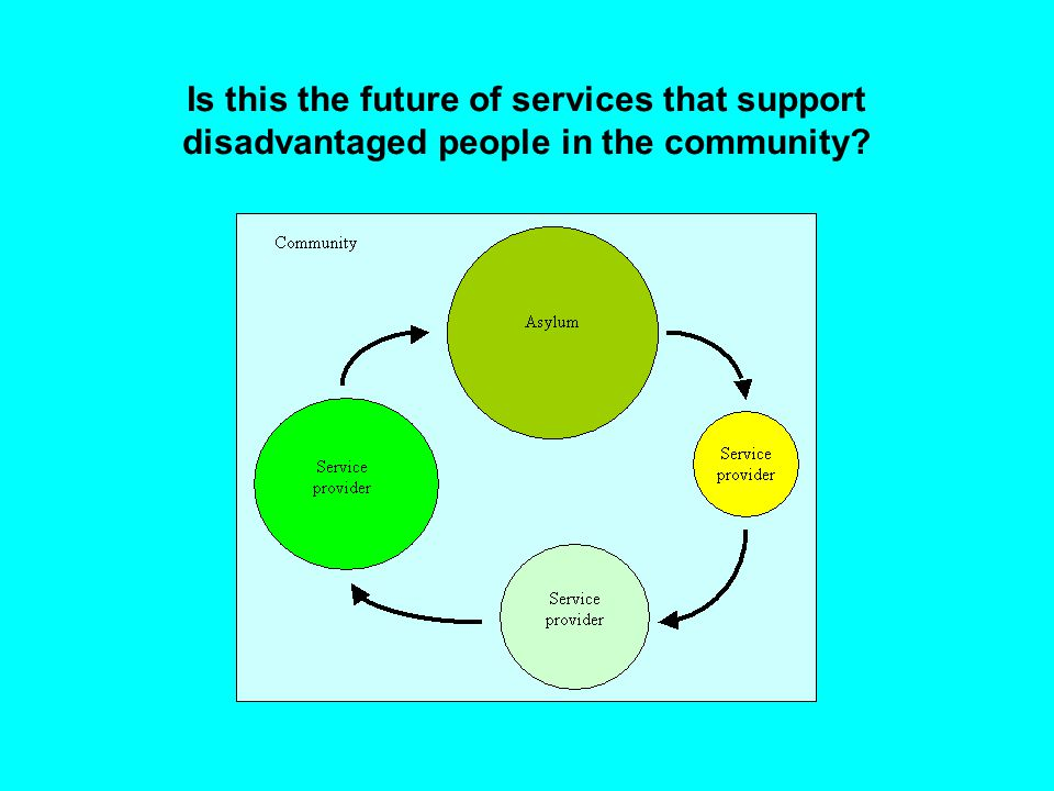 Is this the future of services that support disadvantaged people in the community?