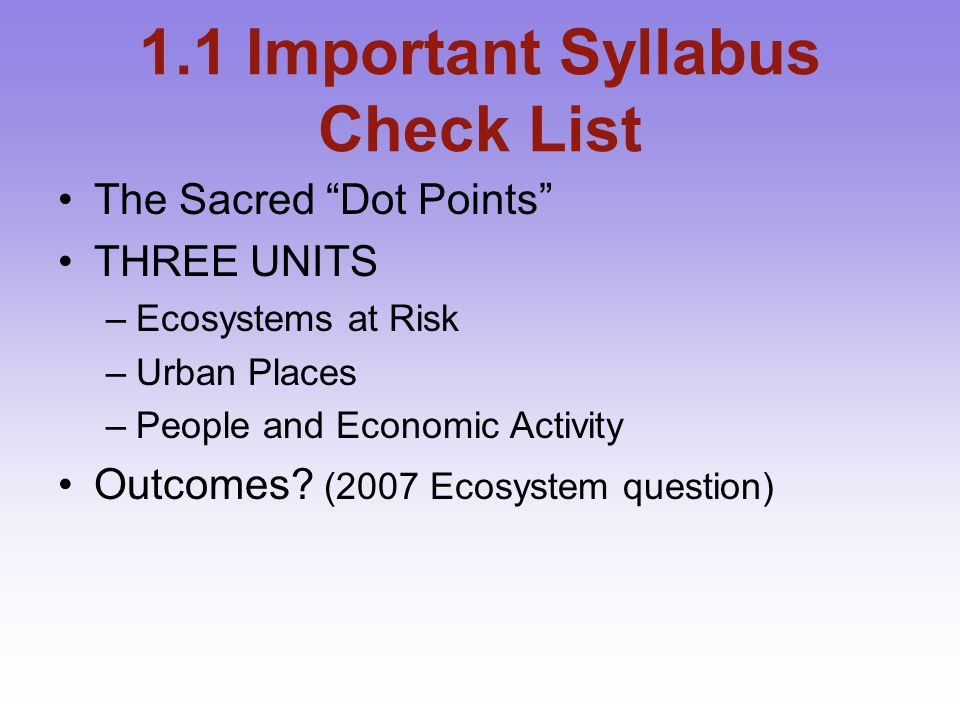 1.1.1 Sacred Dot Points Dot Points should act as your Headings and Subheadings.