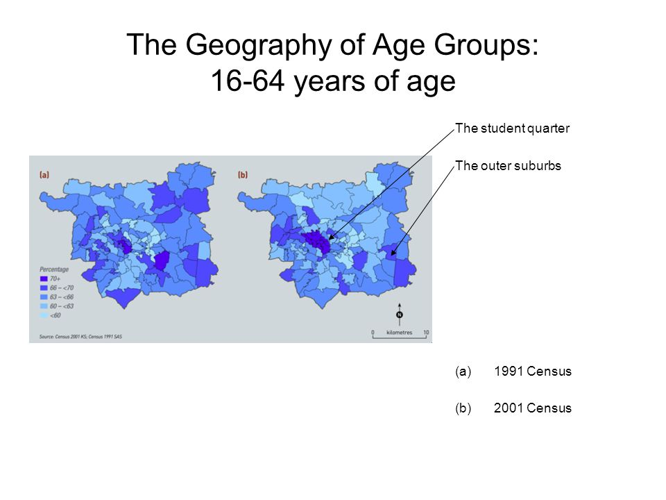 The Geography of Age Groups: 16-64 years of age The student quarter The outer suburbs (a)1991 Census (b)2001 Census