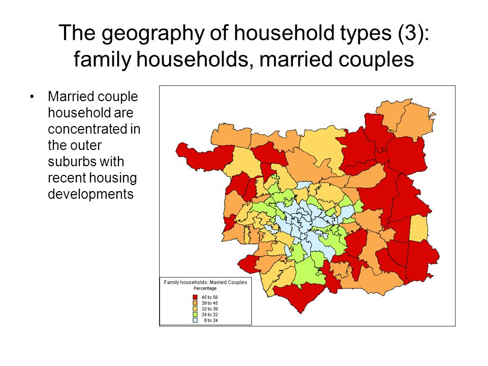 The geography of household types (3): family households, married couples Married couple household are concentrated in the outer suburbs with recent housing developments