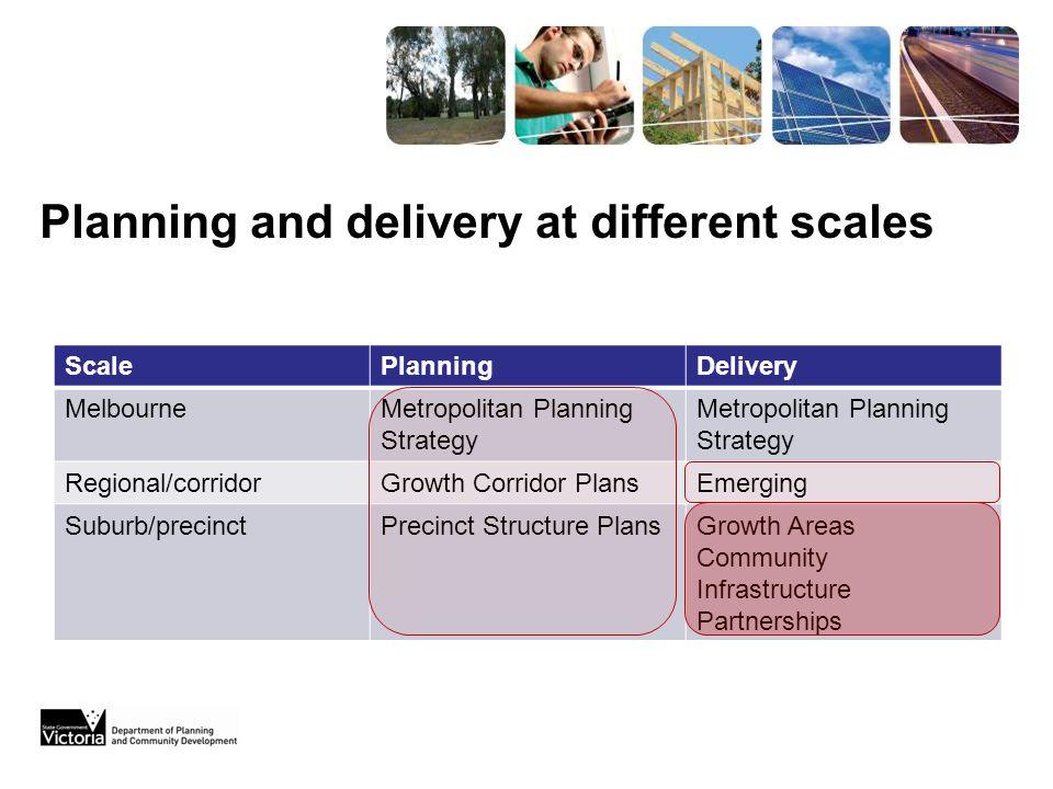 ScalePlanningDelivery MelbourneMetropolitan Planning Strategy Regional/corridorGrowth Corridor PlansEmerging Suburb/precinctPrecinct Structure PlansGr