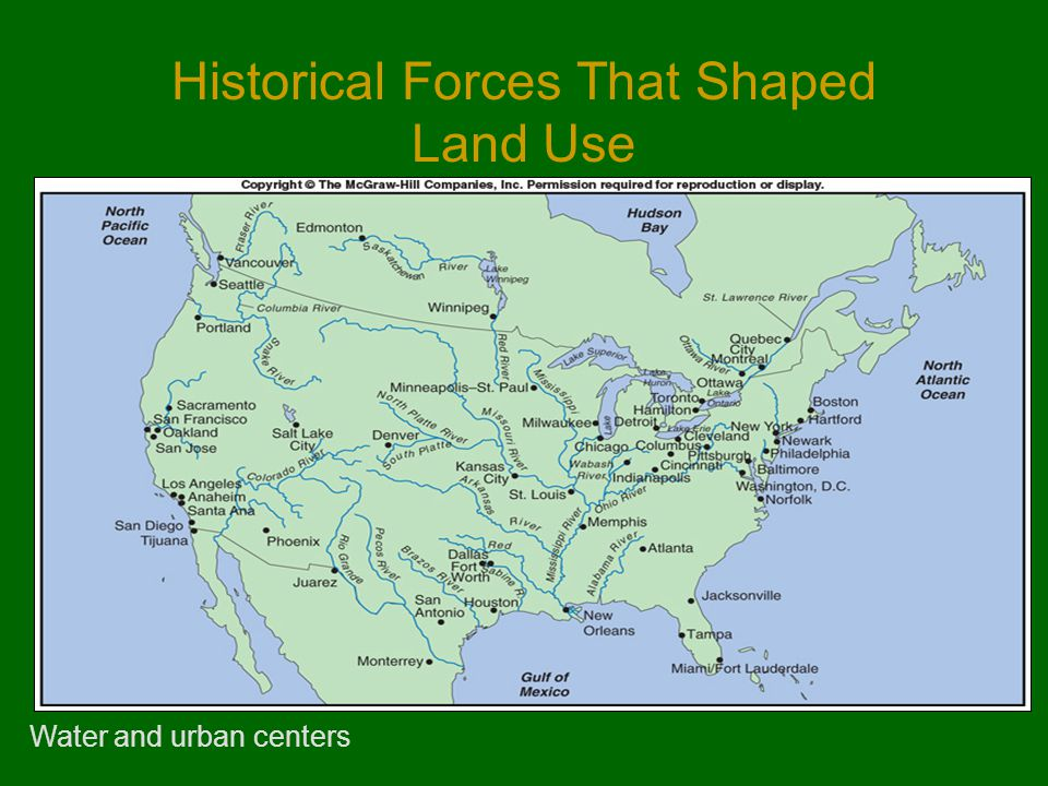 Historical Forces That Shaped Land Use Water and urban centers