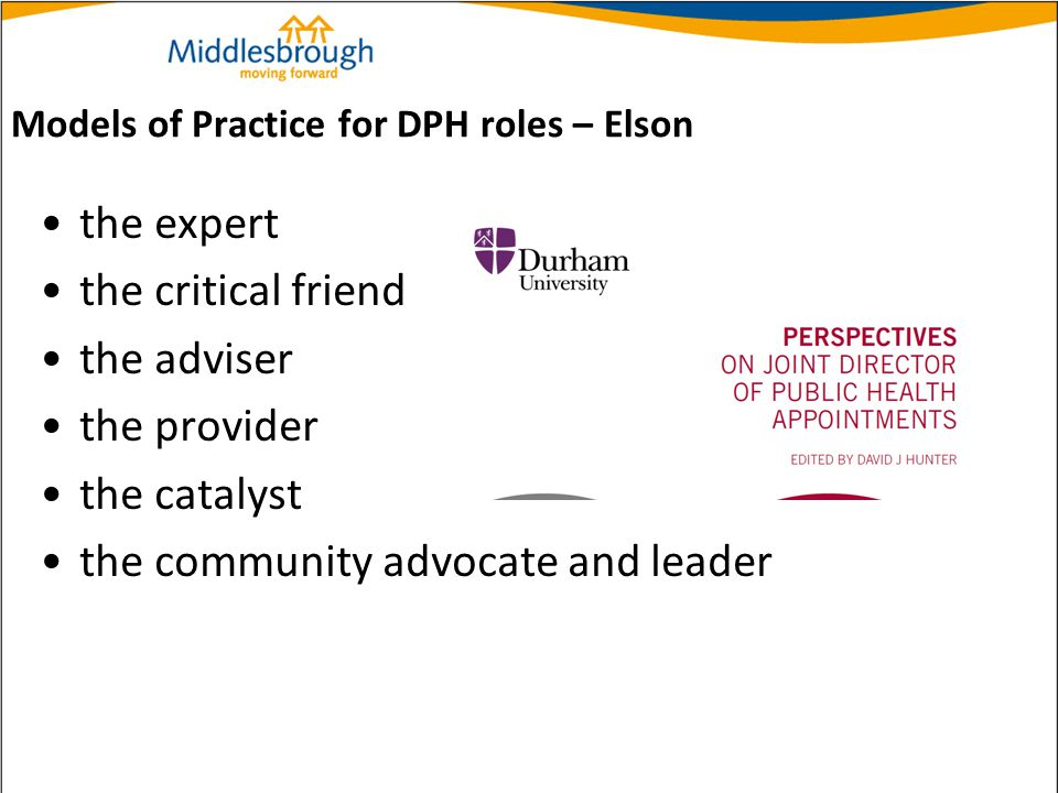 Models of Practice for DPH roles – Elson the expert the critical friend the adviser the provider the catalyst the community advocate and leader