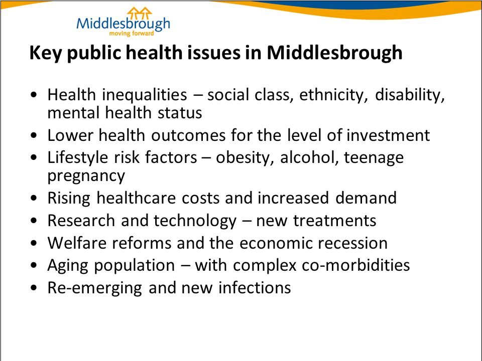 Key public health issues in Middlesbrough Health inequalities – social class, ethnicity, disability, mental health status Lower health outcomes for th