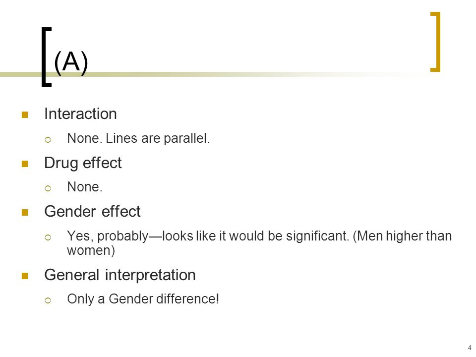4 (A) Interaction  None. Lines are parallel. Drug effect  None.