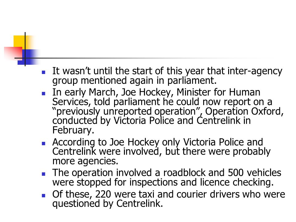 It wasn't until the start of this year that inter-agency group mentioned again in parliament.