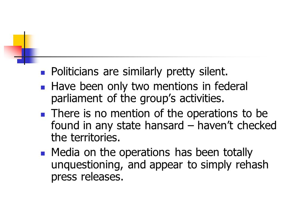 Politicians are similarly pretty silent.
