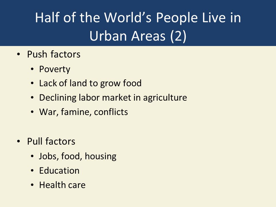 Half of the World's People Live in Urban Areas (2) Push factors Poverty Lack of land to grow food Declining labor market in agriculture War, famine, conflicts Pull factors Jobs, food, housing Education Health care