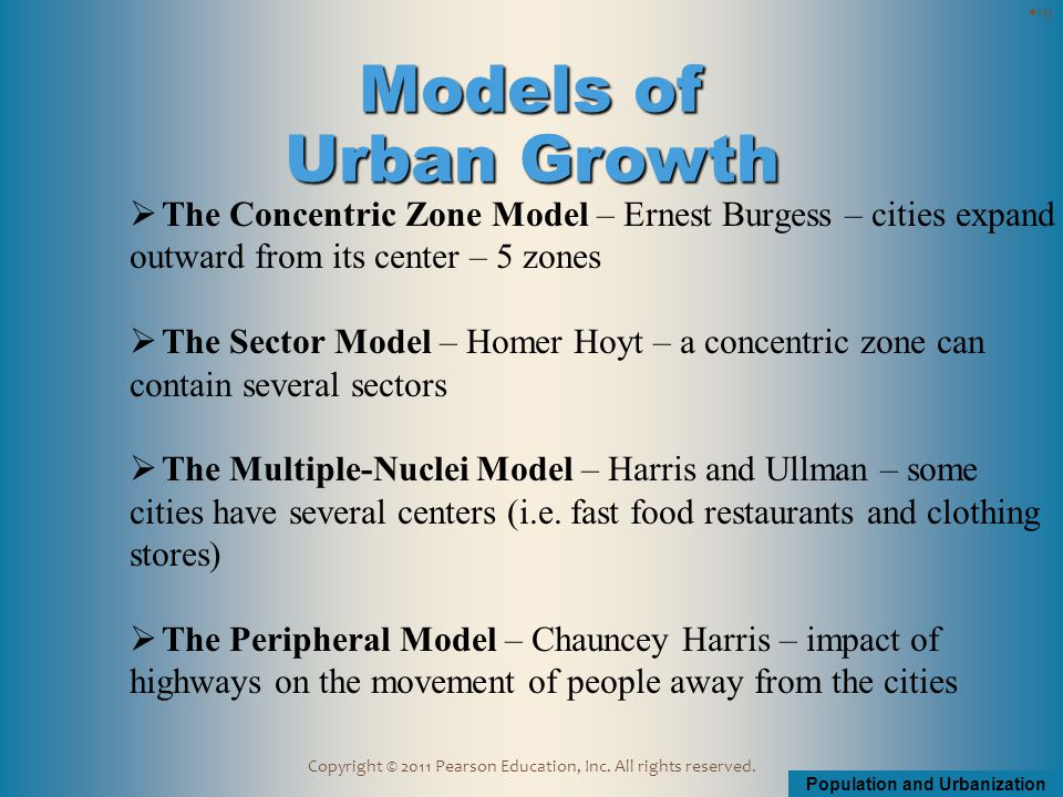 Population and Urbanization Copyright © 2011 Pearson Education, Inc. All rights reserved.  The Concentric Zone Model – Ernest Burgess – cities expand