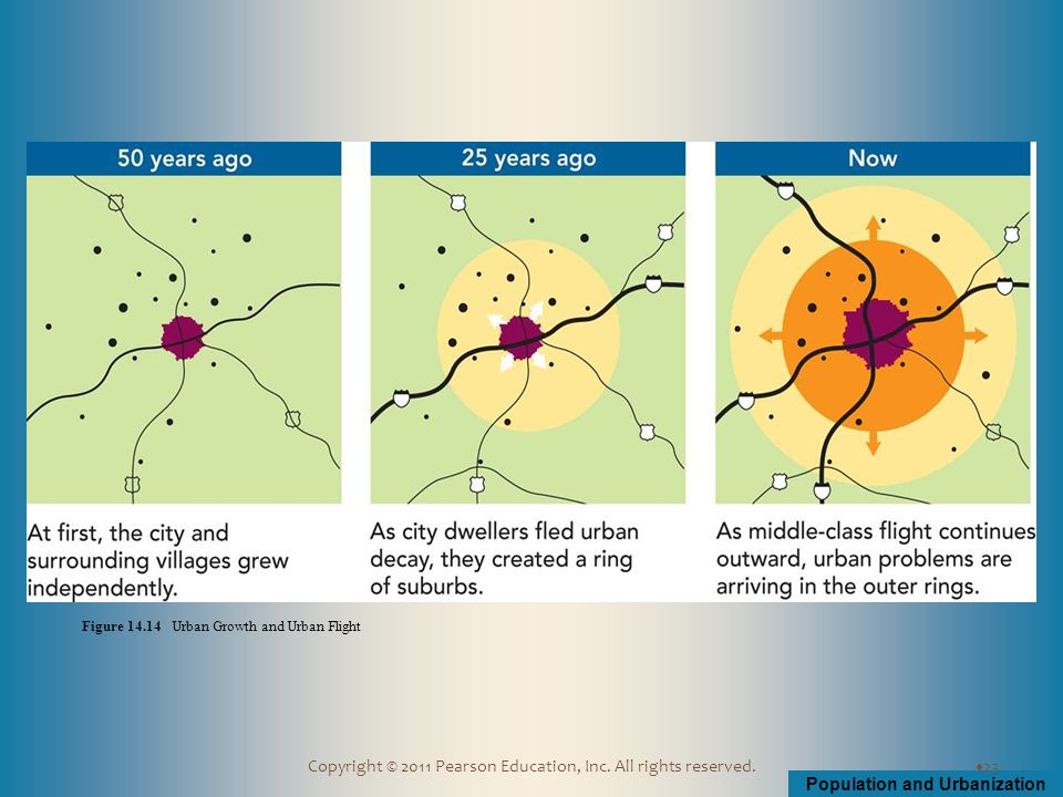 Population and Urbanization Copyright © 2011 Pearson Education, Inc. All rights reserved.  23 Figure 14.14 Urban Growth and Urban Flight