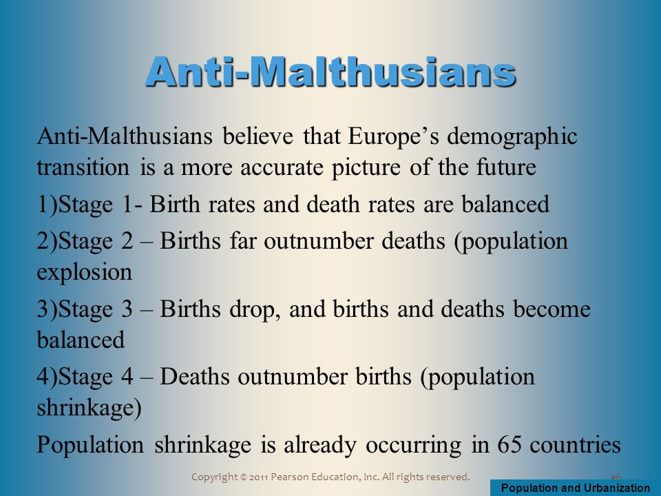 Population and Urbanization Copyright © 2011 Pearson Education, Inc. All rights reserved. Anti-Malthusians believe that Europe's demographic transitio