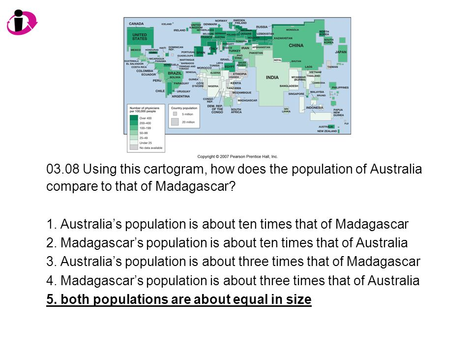 03.08 Using this cartogram, how does the population of Australia compare to that of Madagascar.