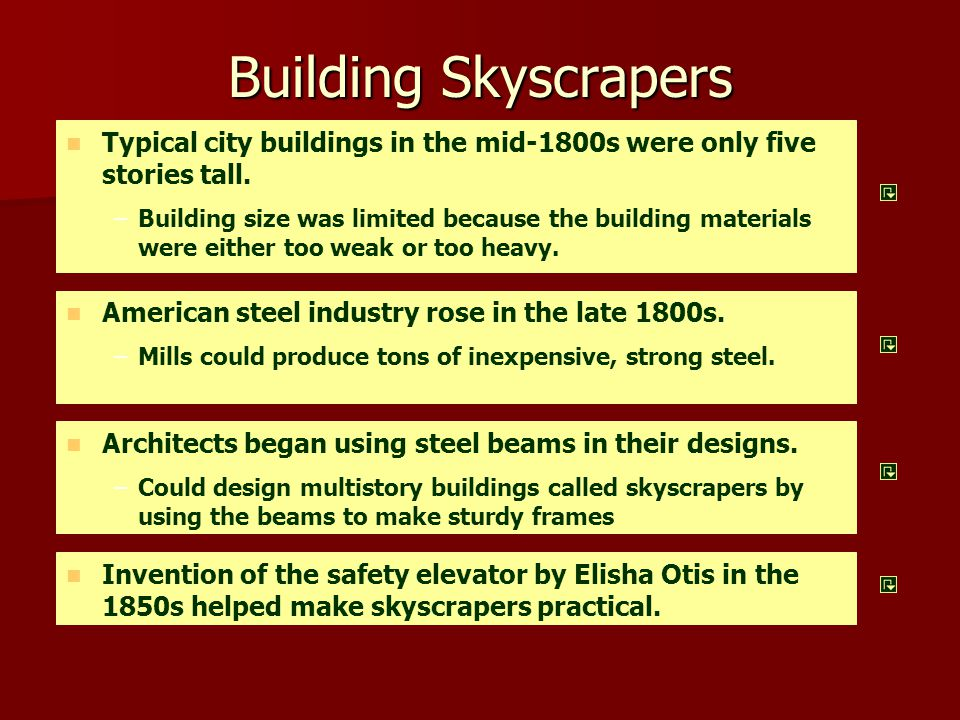 Building Skyscrapers Typical city buildings in the mid-1800s were only five stories tall. – –Building size was limited because the building materials