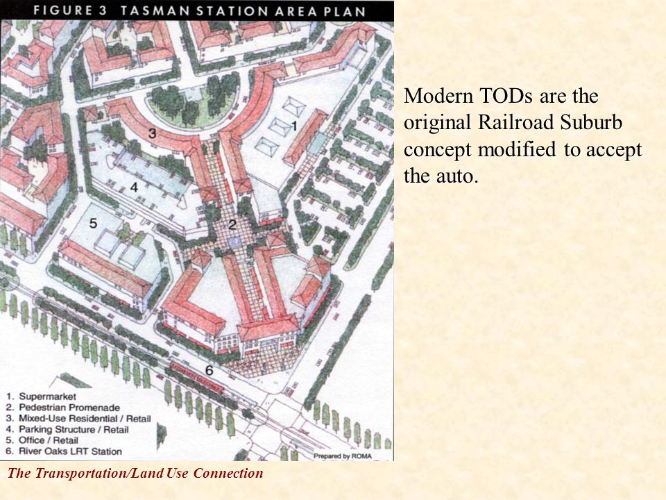 The Transportation/Land Use Connection Modern TODs are the original Railroad Suburb concept modified to accept the auto.Modern TODs are the original Railroad Suburb concept modified to accept the auto.