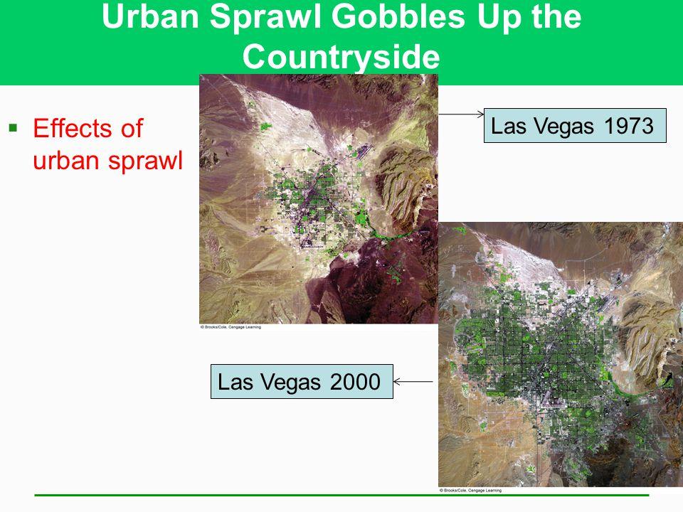 Urban Sprawl Gobbles Up the Countryside  Effects of urban sprawl Las Vegas 1973 Las Vegas 2000