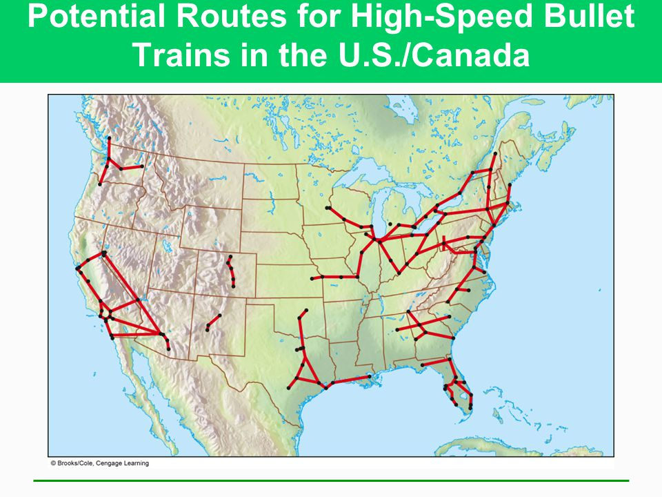 Potential Routes for High-Speed Bullet Trains in the U.S./Canada