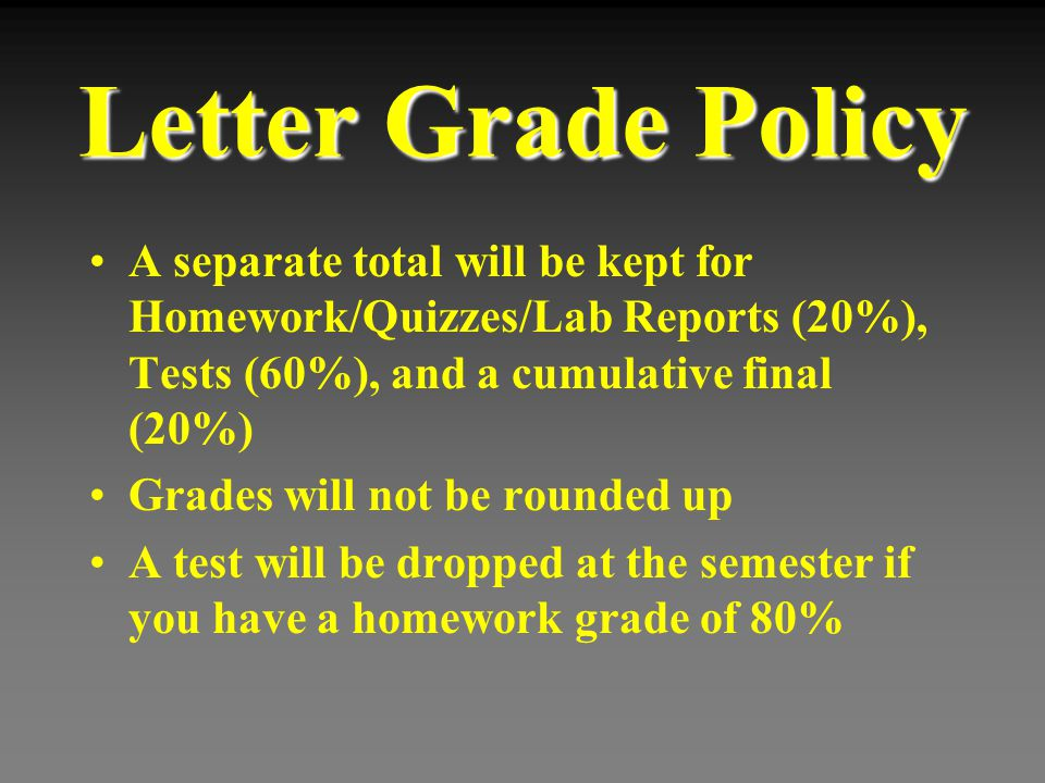 Letter Grade Policy A separate total will be kept for Homework/Quizzes/Lab Reports (20%), Tests (60%), and a cumulative final (20%) Grades will not be