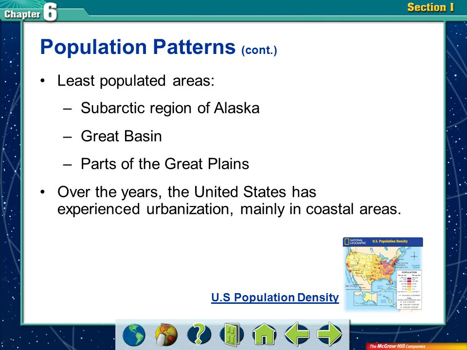 Section 1 Least populated areas: Population Patterns (cont.) –Subarctic region of Alaska –Great Basin –Parts of the Great Plains Over the years, the U