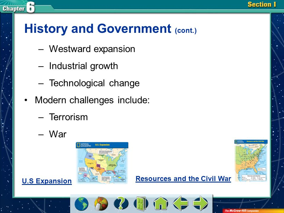 Section 1 History and Government (cont.) Modern challenges include: –Terrorism –War –Westward expansion –Industrial growth –Technological change U.S E