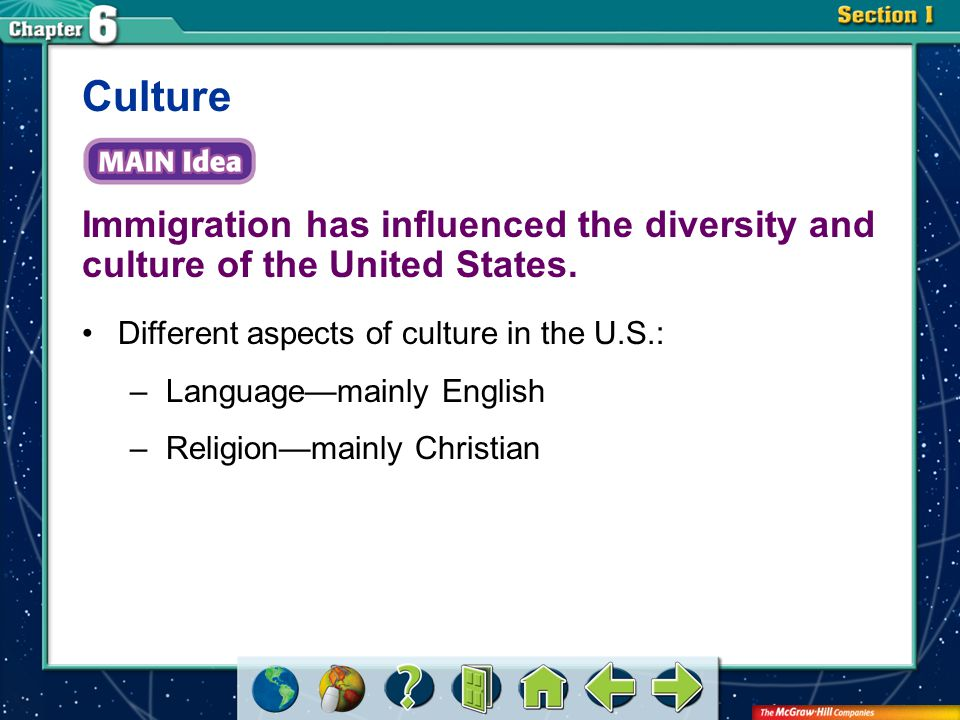 Section 1 Immigration has influenced the diversity and culture of the United States. Culture Different aspects of culture in the U.S.: –Language—mainl