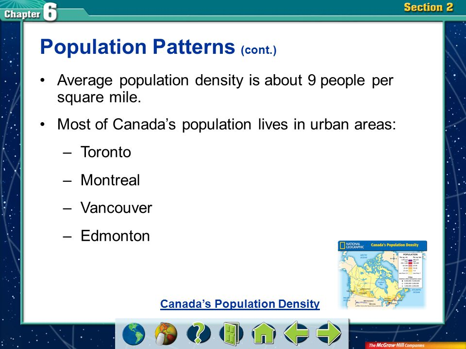 Section 2 Population Patterns (cont.) Average population density is about 9 people per square mile. Most of Canada's population lives in urban areas: