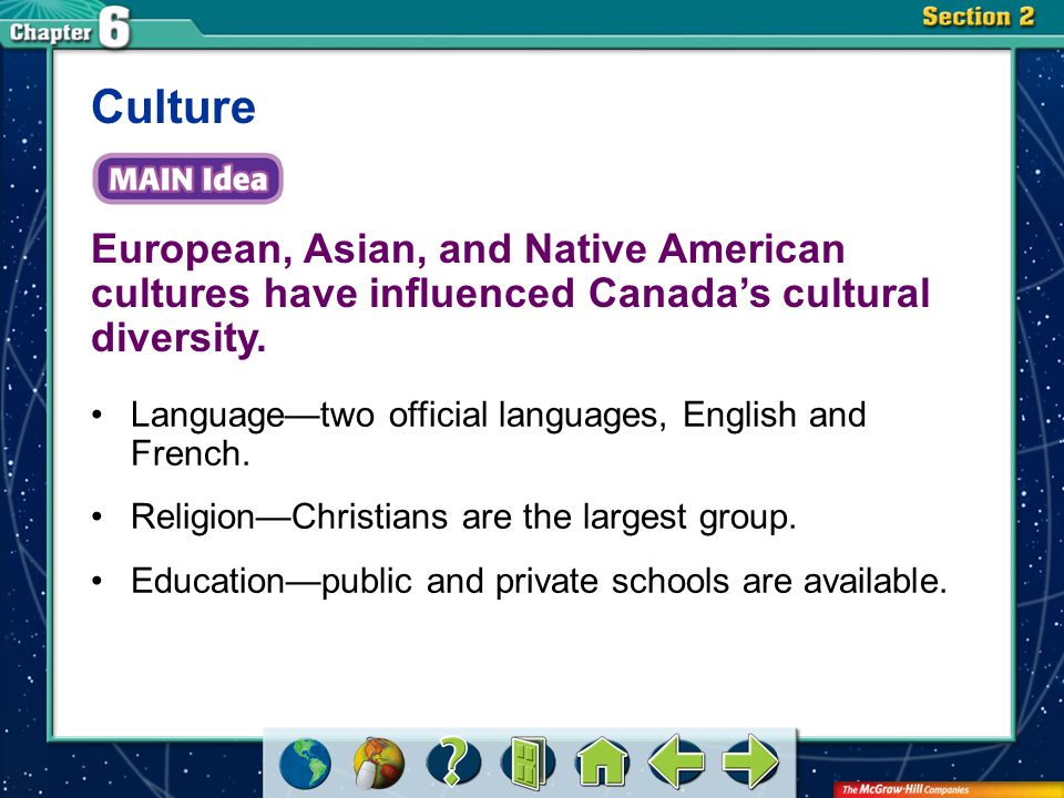 Section 2 European, Asian, and Native American cultures have influenced Canada's cultural diversity. Culture Language—two official languages, English