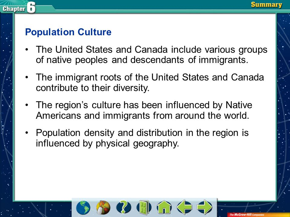 VS 2 Population Culture The United States and Canada include various groups of native peoples and descendants of immigrants. The immigrant roots of th