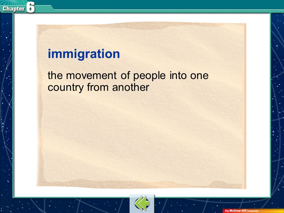 Vocab1 immigration the movement of people into one country from another