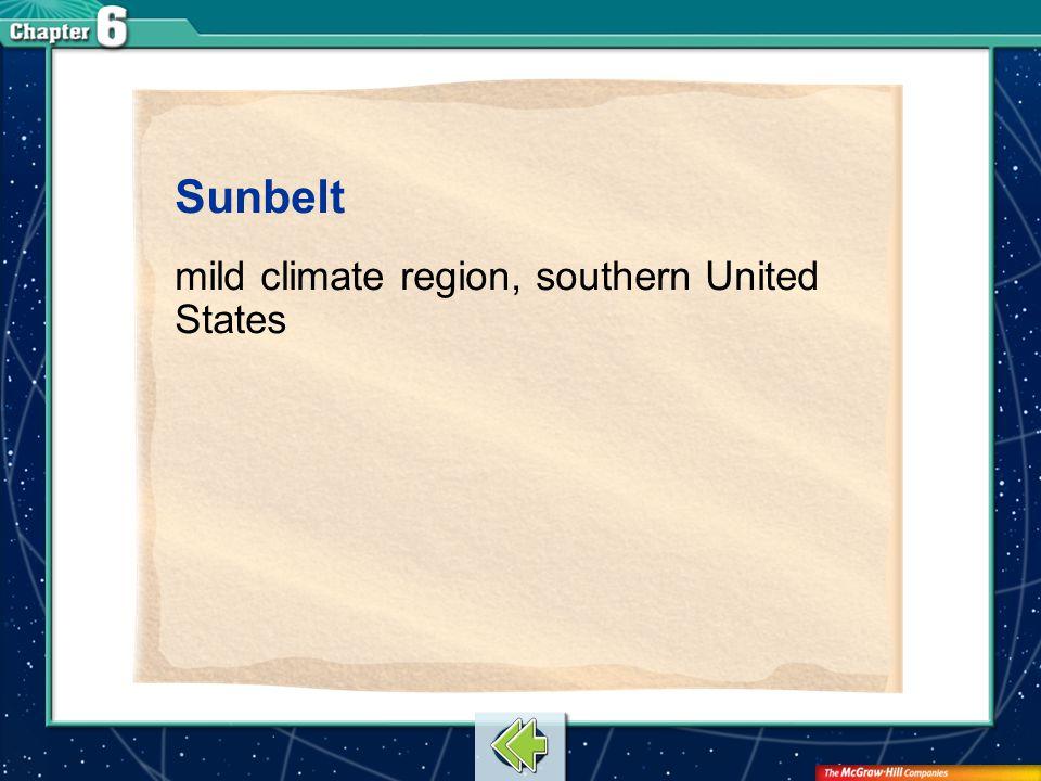 Vocab2 Sunbelt mild climate region, southern United States